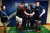 19.03.16 - Wales v Italy - RBS 6 Nations 2016 -Dan Lydiate of Wales, Referee Romain Poite and Sergio Parisse of Italy during the coin toss.