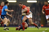 19.03.16 - Wales v Italy - RBS 6 Nations 2016 -Jamie Roberts of Wales is tackled by Sergio Parisse of Italy.