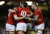 19.03.16 - Wales v Italy - RBS 6 Nations - Dan Biggar of Wales celebrates scoring a try with team mates.