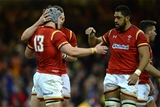 19.03.16 - Wales v Italy - RBS 6 Nations 2016 -Jonathan Davies of Wales celebrates his try with George North and Taulupe Faletau.