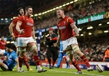 19.03.16 - Wales v Italy - RBS 6 Nations - Ross Moriarty of Wales celebrates scoring a try.