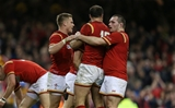 19.03.16 - Wales v Italy - RBS 6 Nations - Gareth Davies of Wales celebrates scoring a try with team mates.