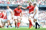 29.05.16 - England v Wales - Old Mutual Wealth Cup -Rob Evans of Wales celebrates his try with Alun Wyn Jones.