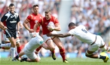 29.05.16 - England v Wales - Old Mutual Wealth Cup -Scott Williams of Wales takes on Dylan Hartley and Courtney Lawes of England.