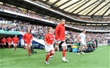 29.05.16 - England v Wales - Old Mutual Wealth Cup -Dan Lydiate of Wales leads out his side.
