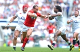 29.05.16 - England v Wales - Old Mutual Wealth Cup -Jamie Roberts of Wales is tackled by Marland Yarde of England.