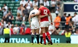 29.05.16 - England v Wales - Old Mutual Wealth Cup - Mike Brown of England and Jamie Roberts of Wales shake hands at full time.