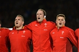11.06.16 - New Zealand v Wales - Steinlager Series 2016 -Gethin Jenkins, Alun Wyn Jones and Jonathan Davies of Wales during the anthems.