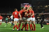 11.06.16 - New Zealand v Wales - Steinlager Series 2016 -Taulupe Faletau of Wales celebrates his try with team mates.