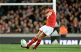 11.06.16 - New Zealand v Wales - Steinlager Series 2016 -Dan Biggar of Wales kicks at goal.