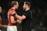 11.06.16 - New Zealand v Wales - Steinlager Series 2016 -Alun Wyn Jones of Wales is consoled by Kieran Read of New Zealand.