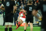 18.06.16 - New Zealand v Wales - Steinlager Series, Second Test -Dan Biggar of Wales kicks at goal.
