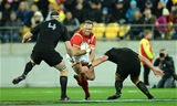 18.06.16 - New Zealand v Wales - Steinlager Series, Second Test -Jamie Roberts of Wales takes on Brodie Retallick and Joe Moody of New Zealand.