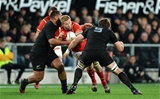 25.06.16 - New Zealand v Wales - Steinlager Series, Third Test -Ross Moriarty of Wales is tackled by Charlie Faumuina and Sam Whitelock of New Zealand.