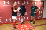 05.11.16 - Wales v Australia - Under Armour Series -Gethin Jenkins of Wales, Referee Craig Joubert  and Stephen Moore of Australia during the coin toss.