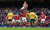05.11.16 - Wales v Australia - Under Armour Series - Ross Moriarty of Wales is lifted by Dan Lydiate of Wales.