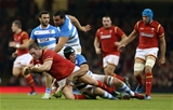 12.11.16 - Wales v Argentina - Under Armour Series - Gethin Jenkins of Wales is tackled by Agustin Creevy and Lucas Noguera of Argentina.