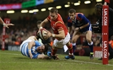 12.11.16 - Wales v Argentina - Under Armour Series - Liam Williams of Wales is pushed into touch before he can ground the ball.