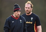 02.02.17 - Wales Rugby Training -Justin Tipuric and Alun Wyn Jones during training.