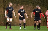 02.02.17 - Wales Rugby Training -Alun Wyn Jones, Samson Lee and Nicky Smith during training.