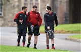 02.02.17 - Wales Rugby Training -Rhys Webb, Rob Evans and Sam Davies arrive for training.