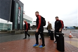 03.02.17 - Wales Rugby Team Travel to Rome -Ross Moriarty and Nicky Smith arrives at Cardiff Airport to travel to Rome.