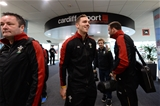 03.02.17 - Wales Rugby Team Travel to Rome -George North arrives at Cardiff Airport to travel to Rome.