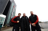 03.02.17 - Wales Rugby Team Travel to Rome -Ross Moriarty, Leigh Halfpenny and Ken Owens arrives at Cardiff Airport to travel to Rome.