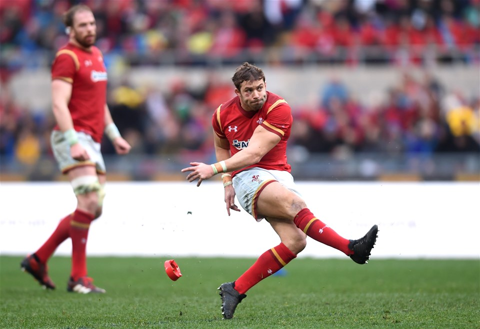 05.02.17 - Italy v Wales - RBS 6 Nations 2017 -Leigh Halfpenny of Wales kicks at goal.