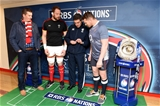 11.02.17 - Wales v England - RBS 6 Nations 2017 -Alun Wyn Jones, Referee Jerome Garces and Dylan Hartley of England during the coin toss.