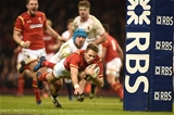 11.02.17 - Wales v England - RBS 6 Nations 2017 -Liam Williams of Wales beats Jack Nowell of England tackle to score try.