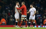 11.02.17 - Wales v England - RBS 6 Nations Championship - Owen Farrell of England and Ross Moriarty of Wales shake hands at full time.