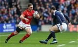 25.02.17 - Scotland v Wales - RBS 6 Nations Championship - George North of Wales is challenged by Tommy Seymour of Scotland.