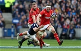 25.02.17 - Scotland v Wales - RBS 6 Nations Championship - Sam Warburton of Wales is tackled by Richie Gray of Scotland.