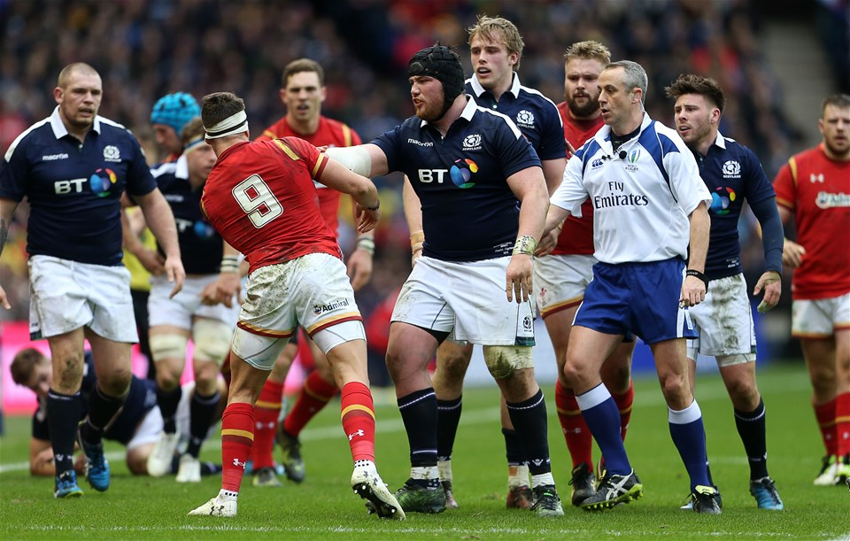 25.02.17 - Scotland v Wales - RBS 6 Nations Championship - Zander Fagerson of Scotland pushes Rhys Webb of Wales.