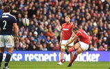 25.02.17 - Scotland v Wales - RBS 6 Nations 2017 -Leigh Halfpenny of Wales kicks at goal.