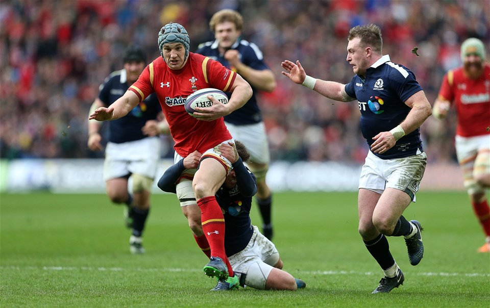 25.02.17 - Scotland v Wales - RBS 6 Nations Championship - Jonathan Davies of Wales is tackled by Alistair Price of Scotland.