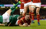 10.03.17 - Wales v Ireland - RBS 6 Nations 2017 -George North of Wales scores try.