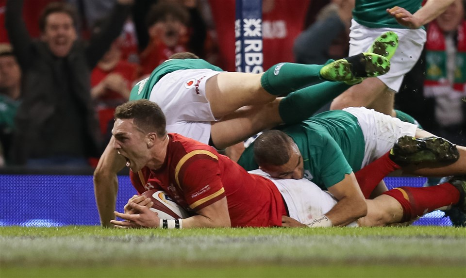 10.03.17 - Wales v Ireland, 2017 RBS 6 Nations Championship -  George North of Wales powers through the tackle of Simon Zebo of Ireland to score try