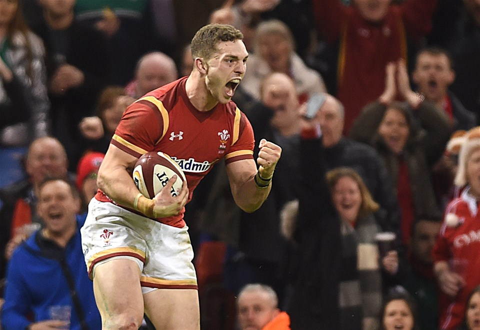 10.03.17 - Wales v Ireland - RBS 6 Nations 2017 -George North of Wales celebrates his second try.