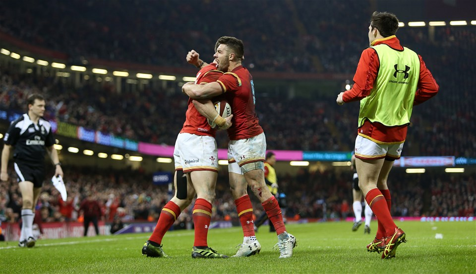 10.03.17 - Wales v Ireland - RBS 6 Nations Championship - George North celebrates with Rhys Webb of Wales after scoring a try.