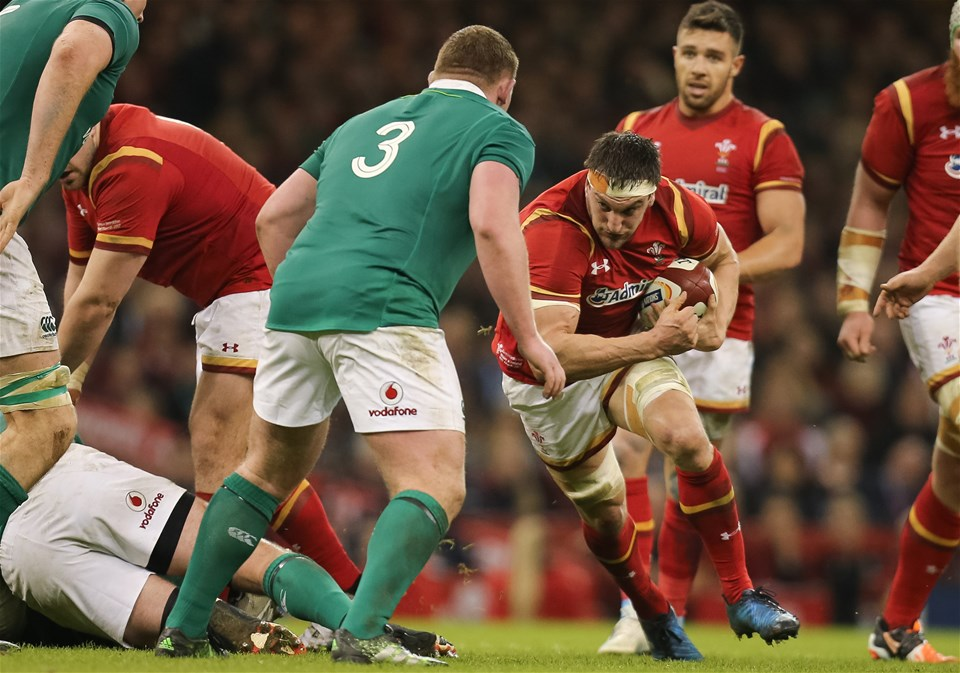 10.03.17 - Wales v Ireland, 2017 RBS 6 Nations Championship -  Sam Warburton of Wales  takes on Tadhg Furlong of Ireland