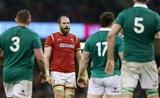 10.03.17 - Wales v Ireland - RBS 6 Nations Championship - Alun Wyn Jones of Wales shocked at referee's Wayne Barnes decision.