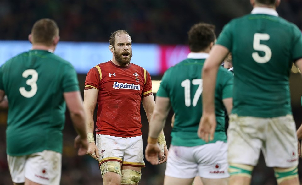 10.03.17 - Wales v Ireland - RBS 6 Nations Championship - Alun Wyn Jones of Wales shocked at referee's Wayne Barnes decision.