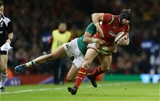 10.03.17 - Wales v Ireland - RBS 6 Nations Championship - Leigh Halfpenny of Wales is tackled by Simon Zebo of Ireland.