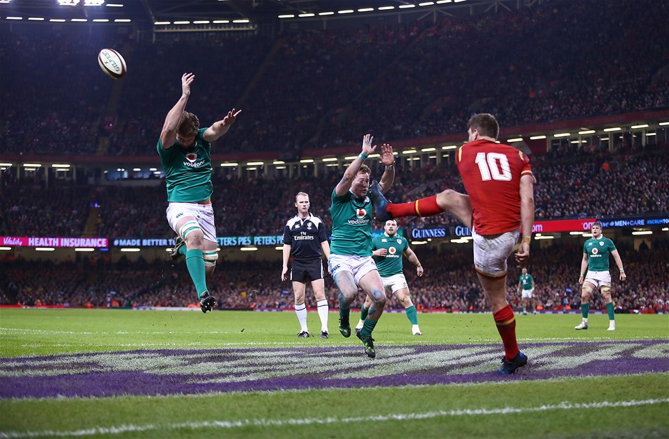 10.03.17 - Wales v Ireland - RBS 6 Nations Championship - Round Four - Dan Biggar of Wales has a kick charged down by Iain Henderson and Kieran Marmion of Ireland