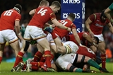10.03.17 - Wales v Ireland - RBS 6 Nations Championship - Jamie Roberts of Wales celebrates with team mates after scoring a try.