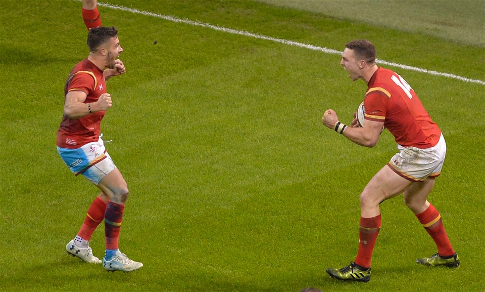 10.03.17 Wales v Ireland - RBS 6 Nations - George North of Wales celebrates his try with Rhys Webb of Wales.