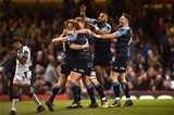 15.04.17 - Cardiff Blues v Ospreys - Guinness PRO12 -Gareth Anscombe of Cardiff Blues celebrates his try with team mates.
