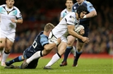 15.04.17 - Cardiff Blues v Ospreys - Guinness PRO12 - Dan Evans of Ospreys beats Gareth Anscombe of Cardiff Blues to score a try.